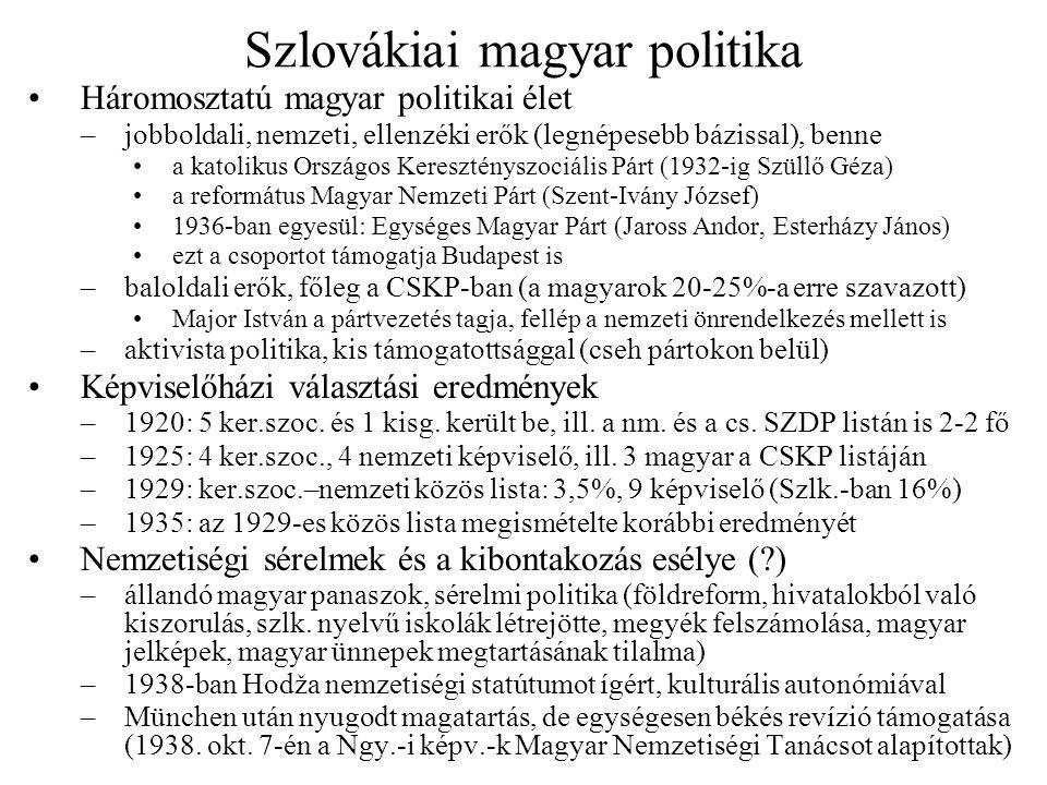 Szlovákiai magyar politika Háromosztatú magyar politikai élet –jobboldali, nemzeti, ellenzéki erők (legnépesebb bázissal), benne a katolikus Országos