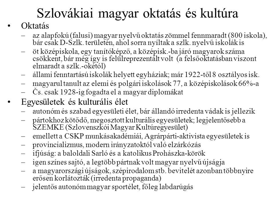 A kárpátaljai magyar politika és kultúra Bonyolult magyar pártrendszer –1927-ig sajátos helyi pártok is: Magyar Jogpárt, Őslakosok Autonóm Pártja –a többi erő a szlovákiai magyar pártok helyi ágazata volt: Keresztényszoc.