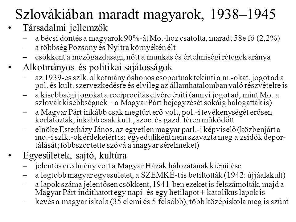 Szlovákiában maradt magyarok, 1938–1945 Társadalmi jellemzők –a bécsi döntés a magyarok 90%-át Mo.-hoz csatolta, maradt 58e fő (2,2%) –a többség Pozso