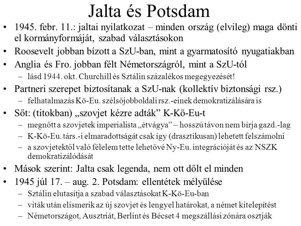Jalta és Potsdam 1945. febr. 11.: jaltai nyilatkozat – minden ország (elvileg) maga dönti el kormányformáját, szabad választásokon Roosevelt jobban bí