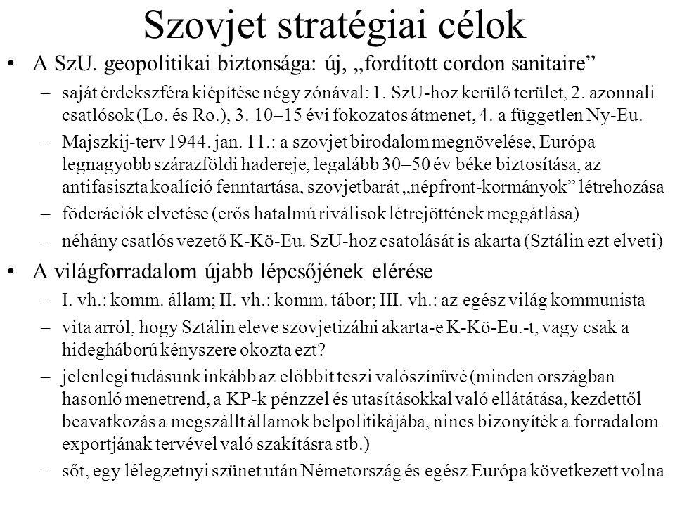 """Szovjet stratégiai célok A SzU. geopolitikai biztonsága: új, """"fordított cordon sanitaire"""" –saját érdekszféra kiépítése négy zónával: 1. SzU-hoz kerülő"""