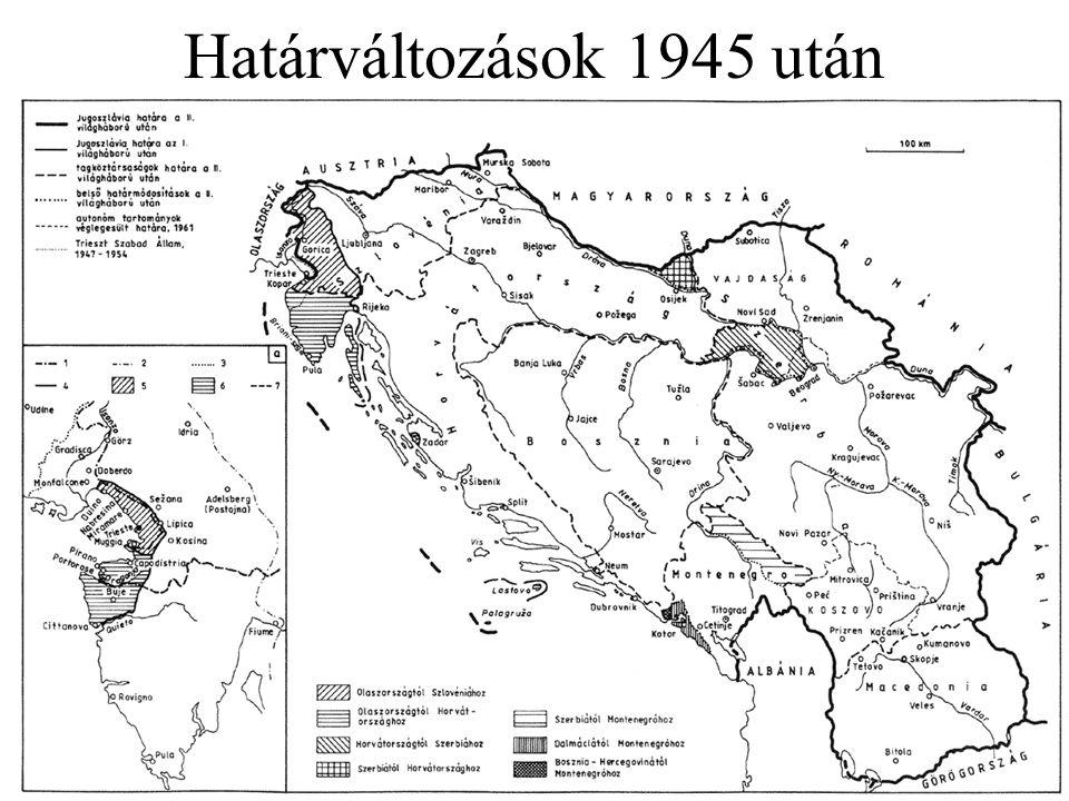 """Népmozgások, telepítések A németek kitelepítése Közép-Európából –a potsdami konferencia dönt róla véglegesen; addigra több helyen már jelentősen előrehaladt az elűzés folyamata –a Lengyelo.-hoz csatolt volt német területekről """"önként (még a szovjetek előtt) elmenekült 2-3m fő, további 4-5m embert kitelepítettek (maradt max."""