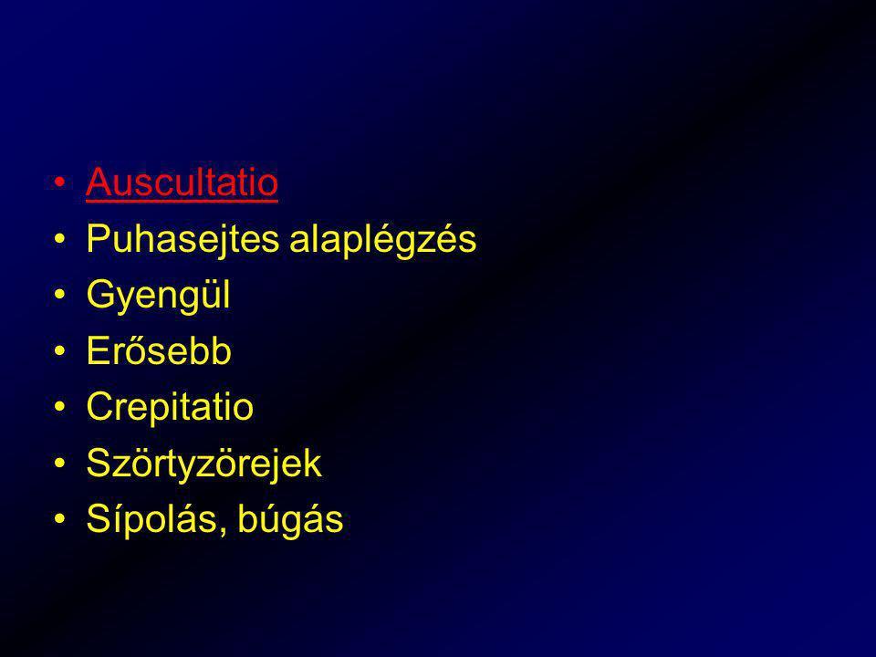 Auscultatio Puhasejtes alaplégzés Gyengül Erősebb Crepitatio Szörtyzörejek Sípolás, búgás