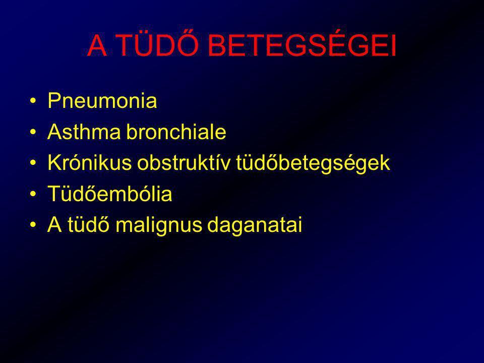 A TÜDŐ BETEGSÉGEI Pneumonia Asthma bronchiale Krónikus obstruktív tüdőbetegségek Tüdőembólia A tüdő malignus daganatai