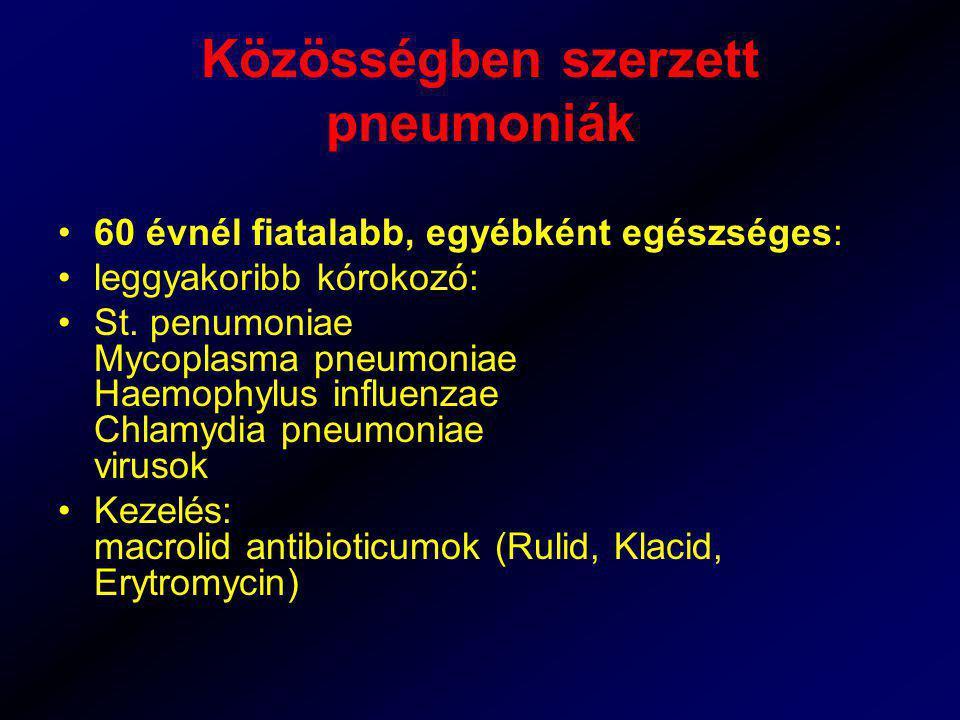 Közösségben szerzett pneumoniák 60 évnél fiatalabb, egyébként egészséges: leggyakoribb kórokozó: St. penumoniae Mycoplasma pneumoniae Haemophylus infl