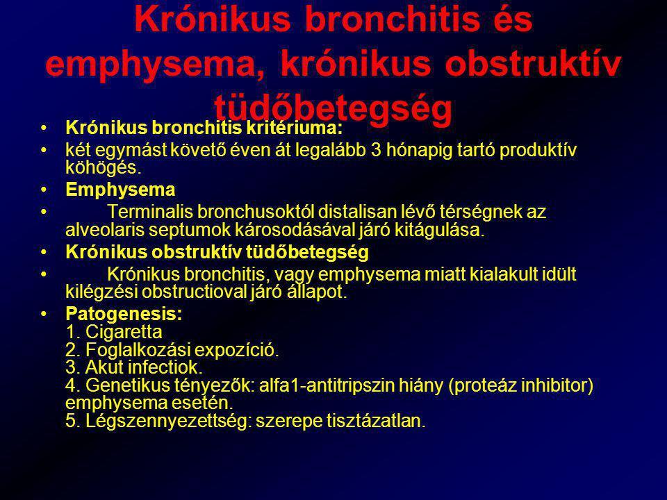 Krónikus bronchitis és emphysema, krónikus obstruktív tüdőbetegség Krónikus bronchitis kritériuma: két egymást követő éven át legalább 3 hónapig tartó