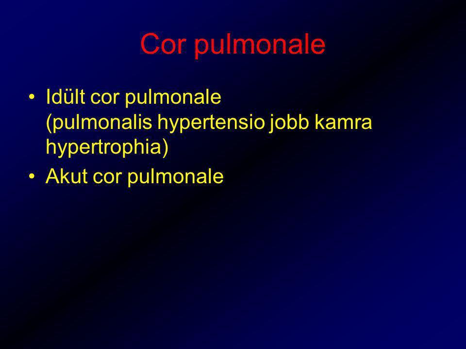 Cor pulmonale Idült cor pulmonale (pulmonalis hypertensio jobb kamra hypertrophia) Akut cor pulmonale
