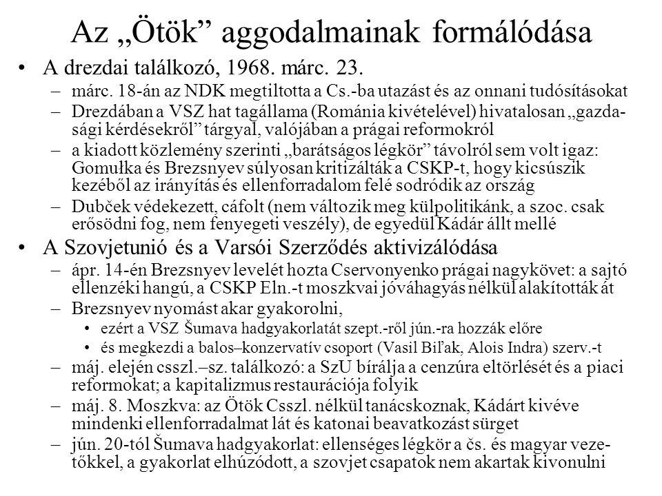 """Az """"Ötök"""" aggodalmainak formálódása A drezdai találkozó, 1968. márc. 23. –márc. 18-án az NDK megtiltotta a Cs.-ba utazást és az onnani tudósításokat –"""