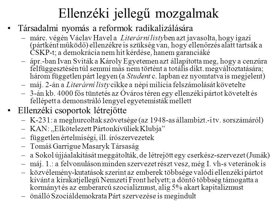 A reformok lelassulása A CSKP vezetésének különböző irányzatai –radikálisok: Šik, Kriegel, Jiří Pelikán (TV-elnök), Čestmír Císař (KB-titkár) –mérsékelt reformerek: Dubček, Černík, Mlynář, Smrkovský –konzervatívok: Kolder, Indra, Biľak stb.
