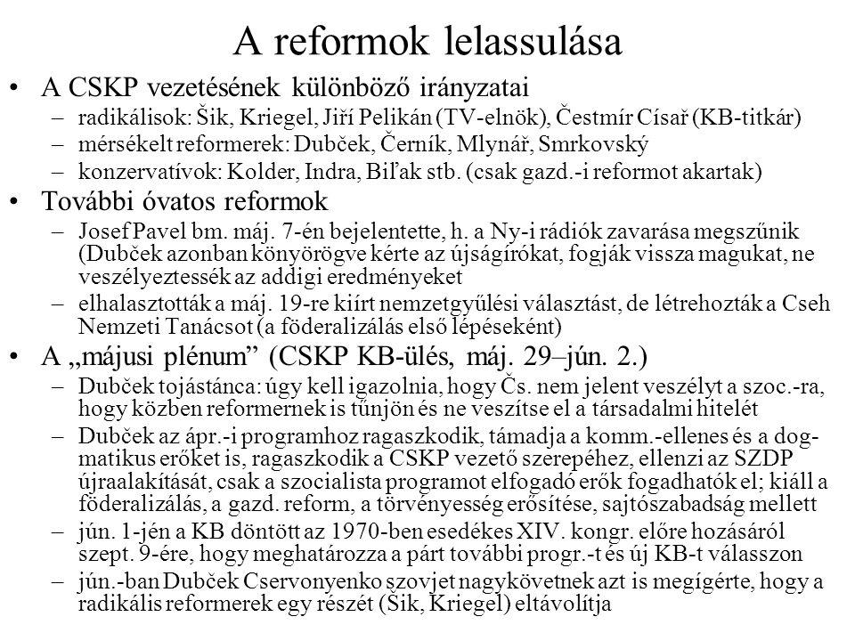 A reformok lelassulása A CSKP vezetésének különböző irányzatai –radikálisok: Šik, Kriegel, Jiří Pelikán (TV-elnök), Čestmír Císař (KB-titkár) –mérséke