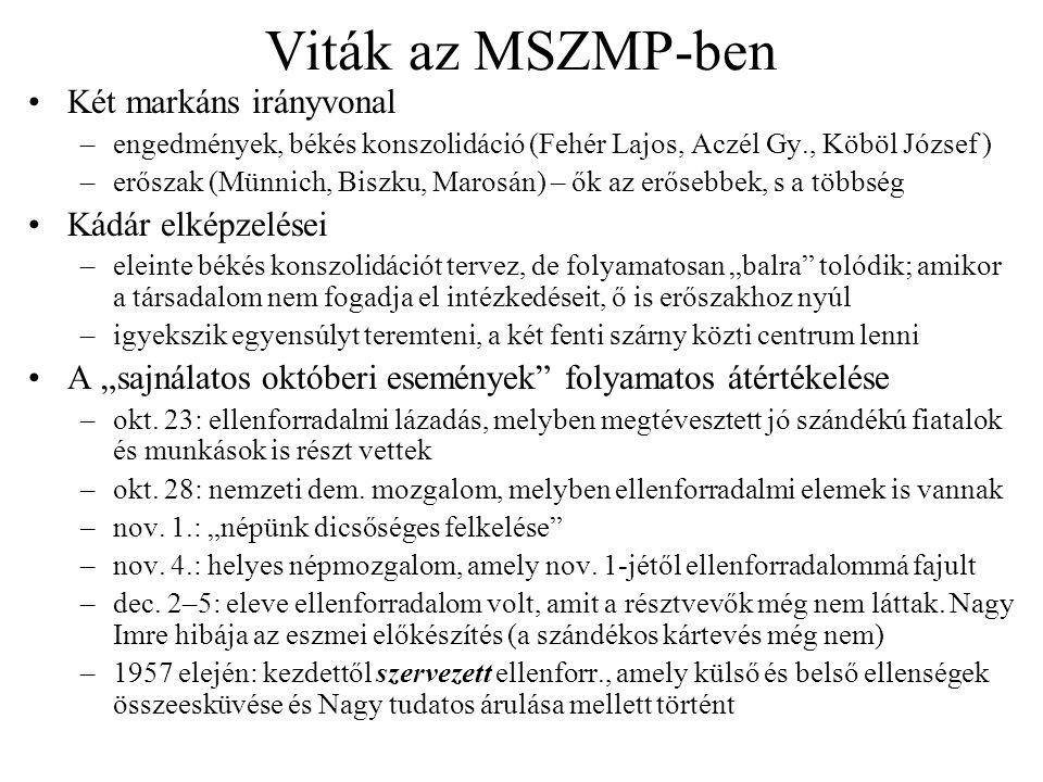 Viták az MSZMP-ben Két markáns irányvonal –engedmények, békés konszolidáció (Fehér Lajos, Aczél Gy., Köböl József ) –erőszak (Münnich, Biszku, Marosán
