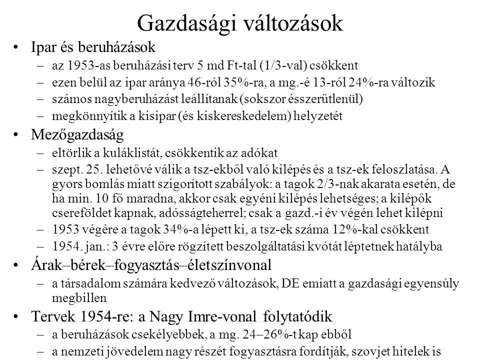 Gazdasági változások Ipar és beruházások –az 1953-as beruházási terv 5 md Ft-tal (1/3-val) csökkent –ezen belül az ipar aránya 46-ról 35%-ra, a mg.-é
