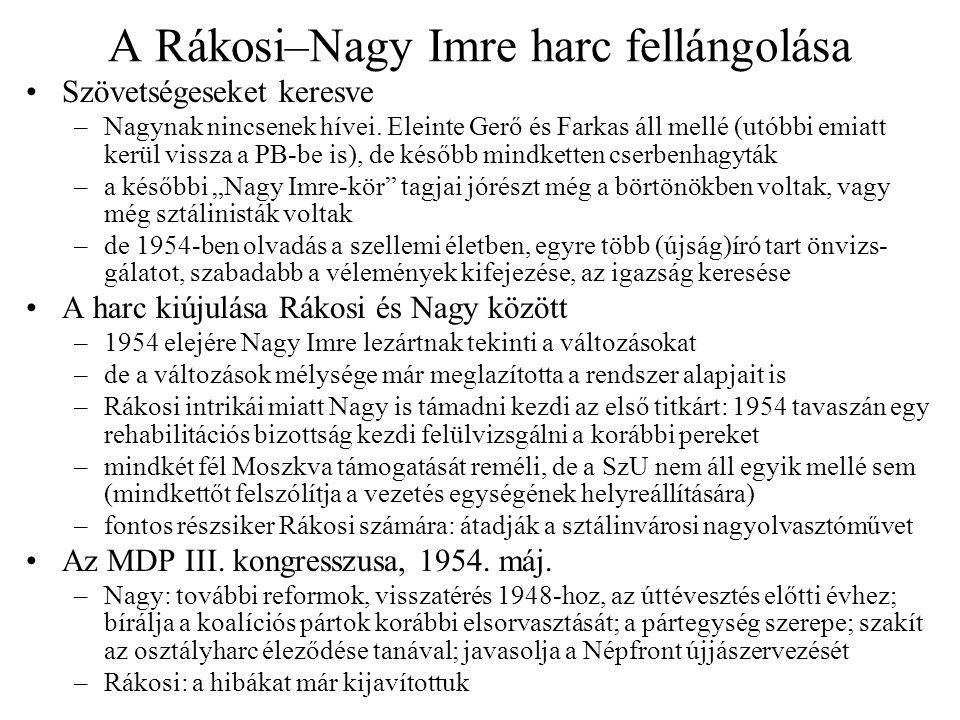 """1954 nyara: a majdnem-kapituláció A dogmatikus tábor megerősödése –gazdasági nehézségek miatt Gerő visszatér Rákosi pártjára –1955-ös egyéves terv tervezete (Gerő + Szalai Béla) korlátozná a lakossági életszínvonalat, visszatérést javasol a sztálinista gazdaságpolitikához –a PB ülése (Nagy távollétében) támogatja ezt és egy ad hoc gazd.pol.-i bizottságot (GPB) állít fel dogmatikus többséggel (Gerő, Szalai, Friss István) Nagy Imre """"dezertálása , passzivitása –döntő pillanatokban hiányzik, szabadságra megy ld."""