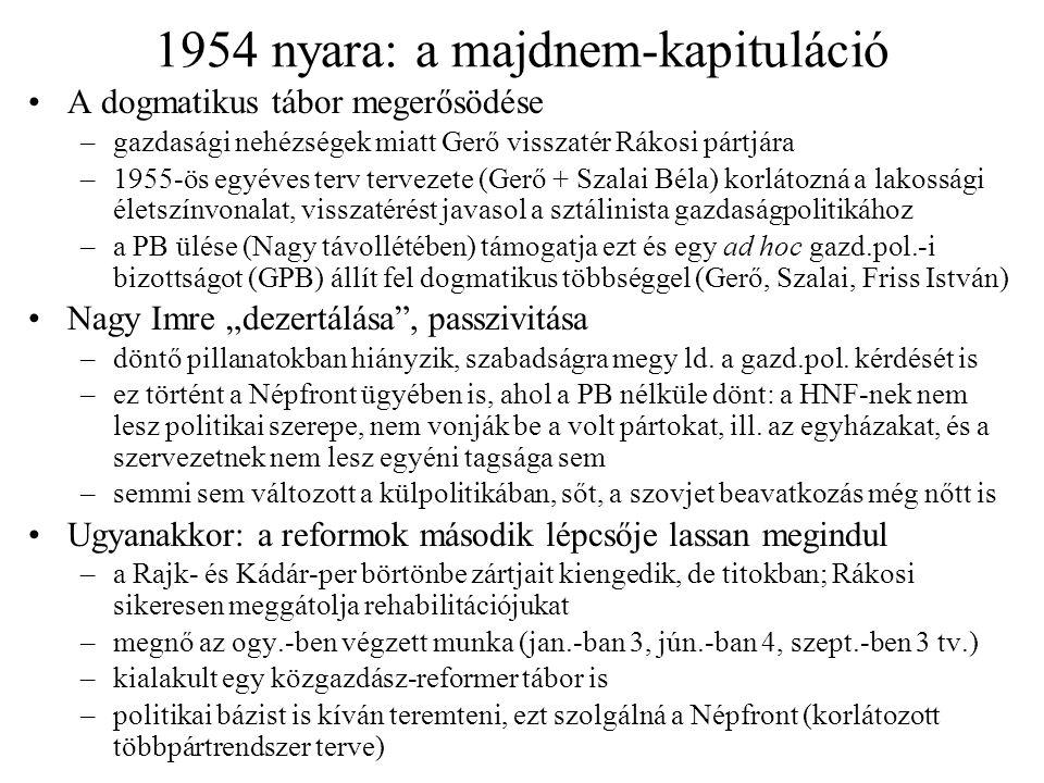 1954 nyara: a majdnem-kapituláció A dogmatikus tábor megerősödése –gazdasági nehézségek miatt Gerő visszatér Rákosi pártjára –1955-ös egyéves terv ter