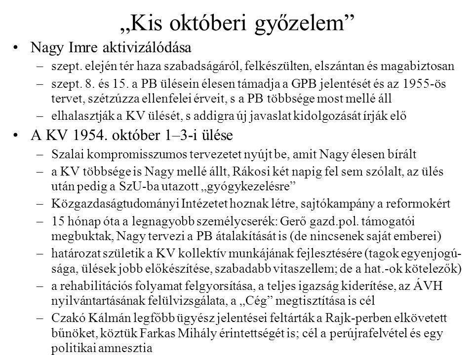 """""""Kis októberi győzelem"""" Nagy Imre aktivizálódása –szept. elején tér haza szabadságáról, felkészülten, elszántan és magabiztosan –szept. 8. és 15. a PB"""