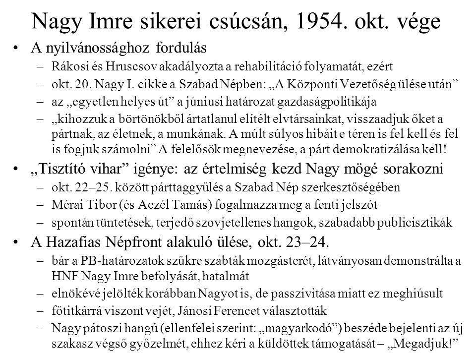 Nagy Imre sikerei csúcsán, 1954. okt. vége A nyilvánossághoz fordulás –Rákosi és Hruscsov akadályozta a rehabilitáció folyamatát, ezért –okt. 20. Nagy