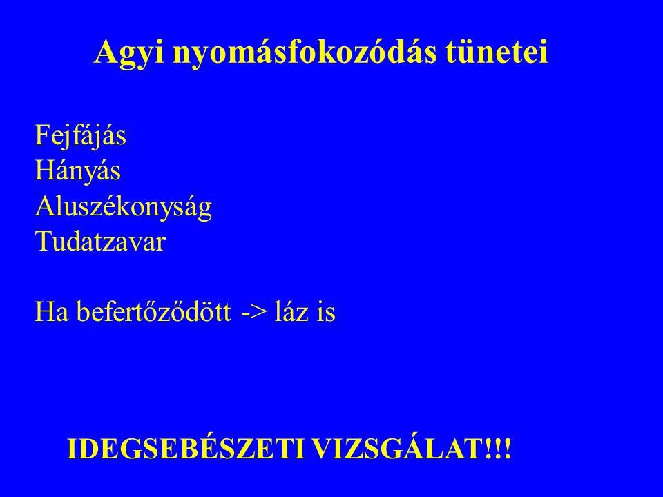 Agyi nyomásfokozódás tünetei Fejfájás Hányás Aluszékonyság Tudatzavar Ha befertőződött -> láz is IDEGSEBÉSZETI VIZSGÁLAT!!!