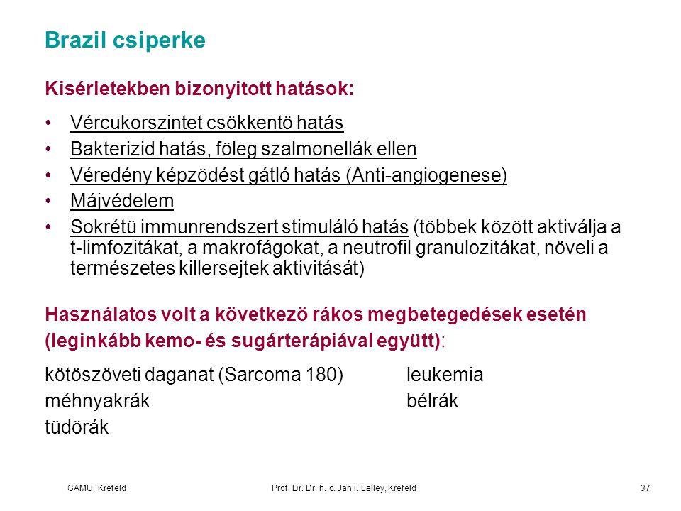 GAMU, KrefeldProf. Dr. Dr. h. c. Jan I. Lelley, Krefeld Brazil csiperke Kisérletekben bizonyitott hatások: Vércukorszintet csökkentö hatás Bakterizid