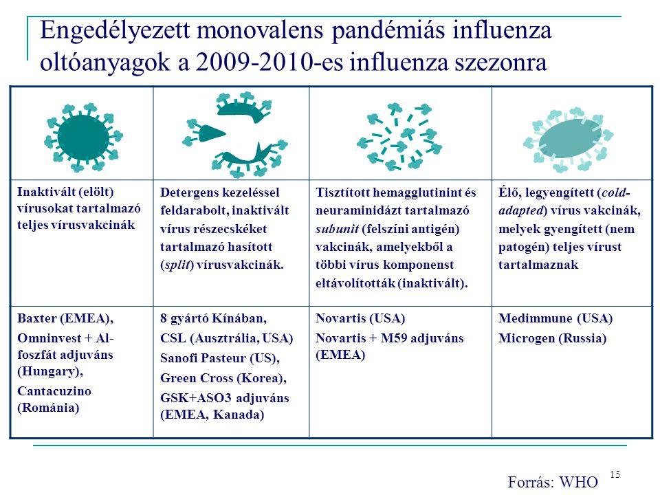 15 Engedélyezett monovalens pandémiás influenza oltóanyagok a 2009-2010-es influenza szezonra Inaktivált (elölt) vírusokat tartalmazó teljes vírusvakcinák Detergens kezeléssel feldarabolt, inaktivált vírus részecskéket tartalmazó hasított (split) vírusvakcinák.