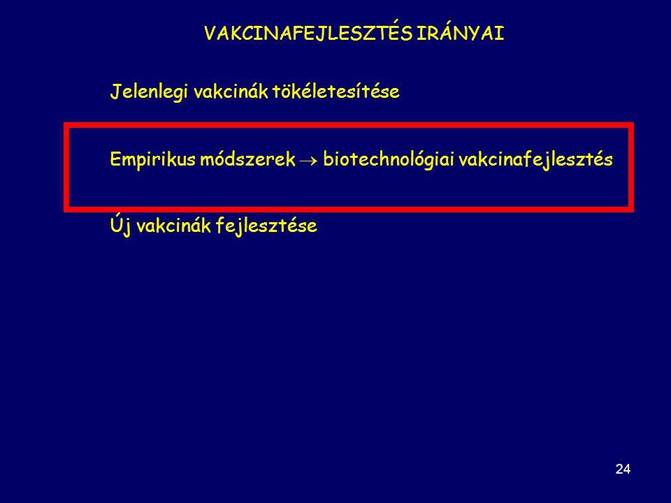 24 VAKCINAFEJLESZTÉS IRÁNYAI Jelenlegi vakcinák tökéletesítése Empirikus módszerek  biotechnológiai vakcinafejlesztés Új vakcinák fejlesztése