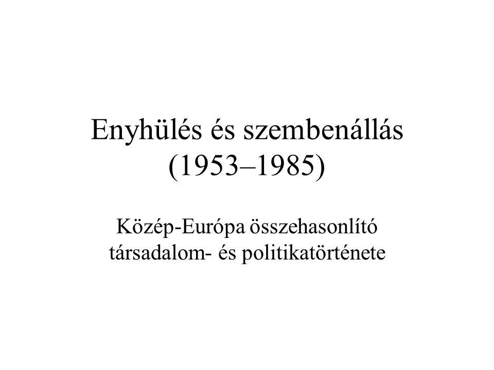 Enyhülés és szembenállás (1953–1985) Közép-Európa összehasonlító társadalom- és politikatörténete