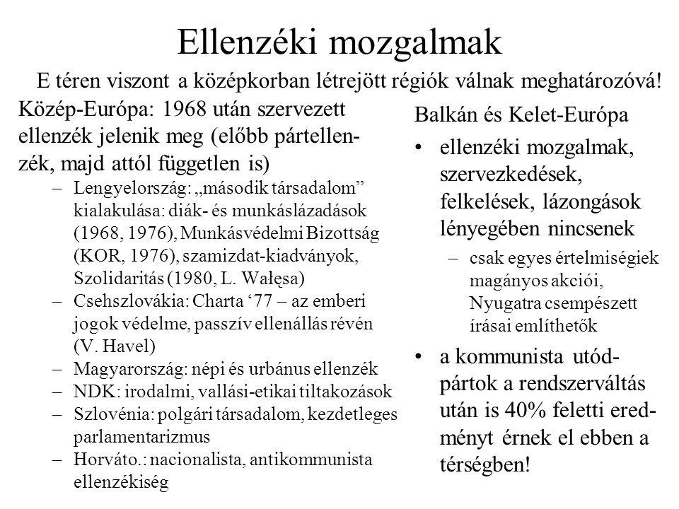 """Ellenzéki mozgalmak Közép-Európa: 1968 után szervezett ellenzék jelenik meg (előbb pártellen- zék, majd attól független is) –Lengyelország: """"második t"""