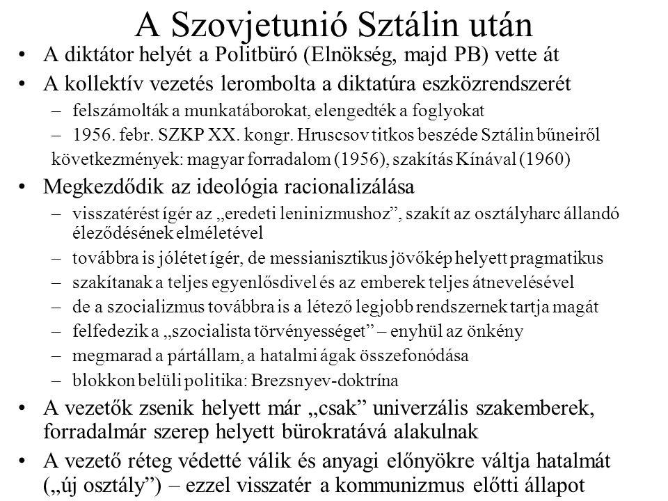 A Szovjetunió Sztálin után A diktátor helyét a Politbüró (Elnökség, majd PB) vette át A kollektív vezetés lerombolta a diktatúra eszközrendszerét –fel