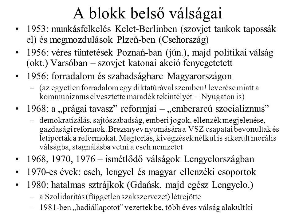 A blokk belső válságai 1953: munkásfelkelés Kelet-Berlinben (szovjet tankok tapossák el) és megmozdulások Plzeň-ben (Csehország) 1956: véres tüntetése