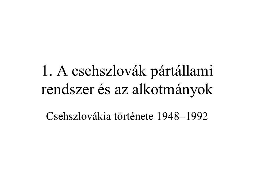 A csehszlovák pártállam Hatalmi ágPártÁllam (Választás)Kongresszus (Sjezd) (3–5 évente) parlamenti választás (volba) (4–6 évente) (1971-től azonos évben) Törvény- hozás Központi Bizottság (Ústřední výbor) (80-150 fő, évi 3–6 ülés) nemzetgyűlés, majd szövetségi gy.