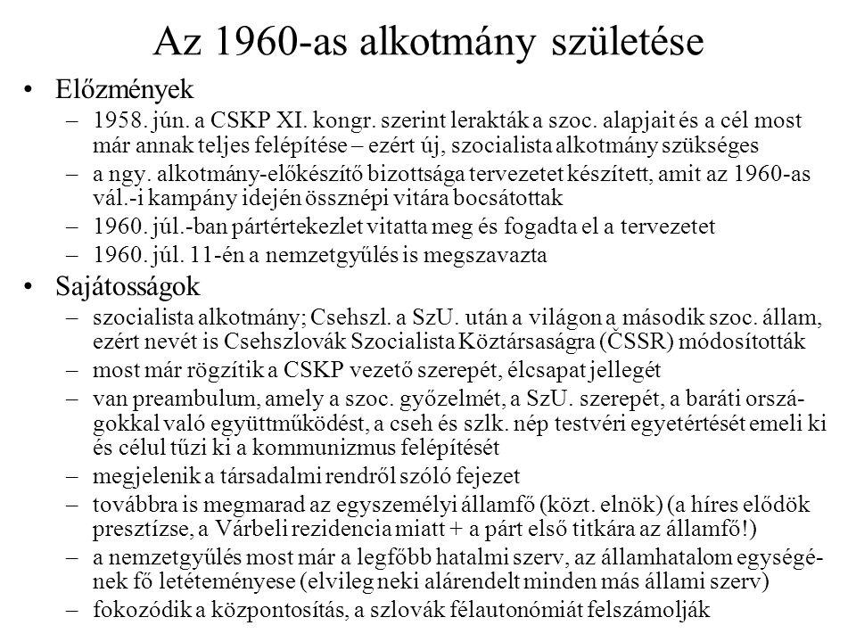 Az 1960-as alkotmány születése Előzmények –1958.jún.