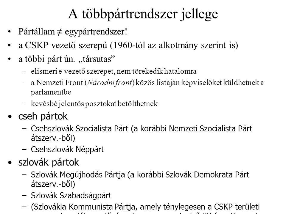 """Az 1948-as alkotmány születése Előzmények –1946: két évre megválasztott (ideiglenes) alkotmányozó nemzetgyűlés –a """"győzelmes február (kommunista puccs) után felgyorsul a szovjetizálás –a kommunista hatalomátvétel ellenére azonban az állami szervek egy időn át függetlenek maradnak, nem azonnal épült ki a pártállam A május 9-i alkotmány sajátosságai –preambulumában soviniszta, kisebbségellenes kitételek szerepelnek –nem veszi át a szovjet 1936-os alkotmány minden vonását nem utal proletárdiktatúrára, munkás–paraszt szövetségre, a párt vezető szerepére fennmarad az államfő, a kormány és a törvényhozás formális egyenlősége létrejön a nemzetgyűlés elnöksége, de nem kollektív államfőként rögzíti a népi demokratikus rendet, ua."""