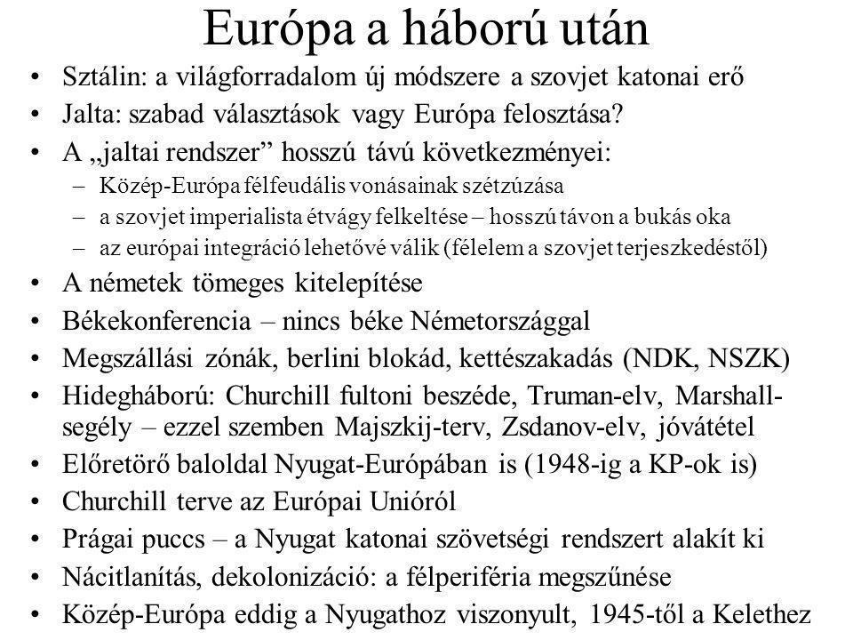 """Európa a háború után Sztálin: a világforradalom új módszere a szovjet katonai erő Jalta: szabad választások vagy Európa felosztása? A """"jaltai rendszer"""