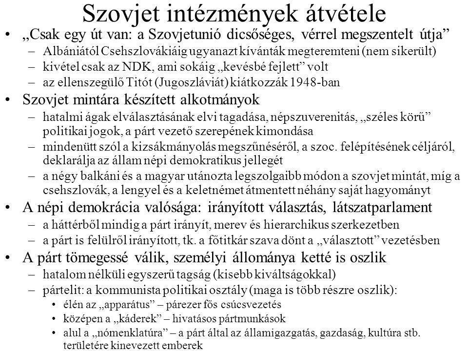 """Szovjet intézmények átvétele """"Csak egy út van: a Szovjetunió dicsőséges, vérrel megszentelt útja"""" –Albániától Csehszlovákiáig ugyanazt kívánták megter"""