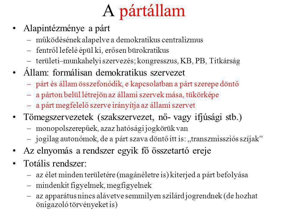 A pártállam Alapintézménye a párt –működésének alapelve a demokratikus centralizmus –fentről lefelé épül ki, erősen bürokratikus –területi–munkahelyi
