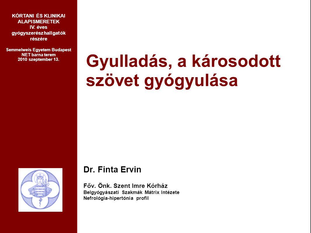 Gyulladás, a károsodott szövet gyógyulása Dr. Finta Ervin Főv. Önk. Szent Imre Kórház Belgyógyászati Szakmák Mátrix Intézete Nefrológia-hipertónia pro