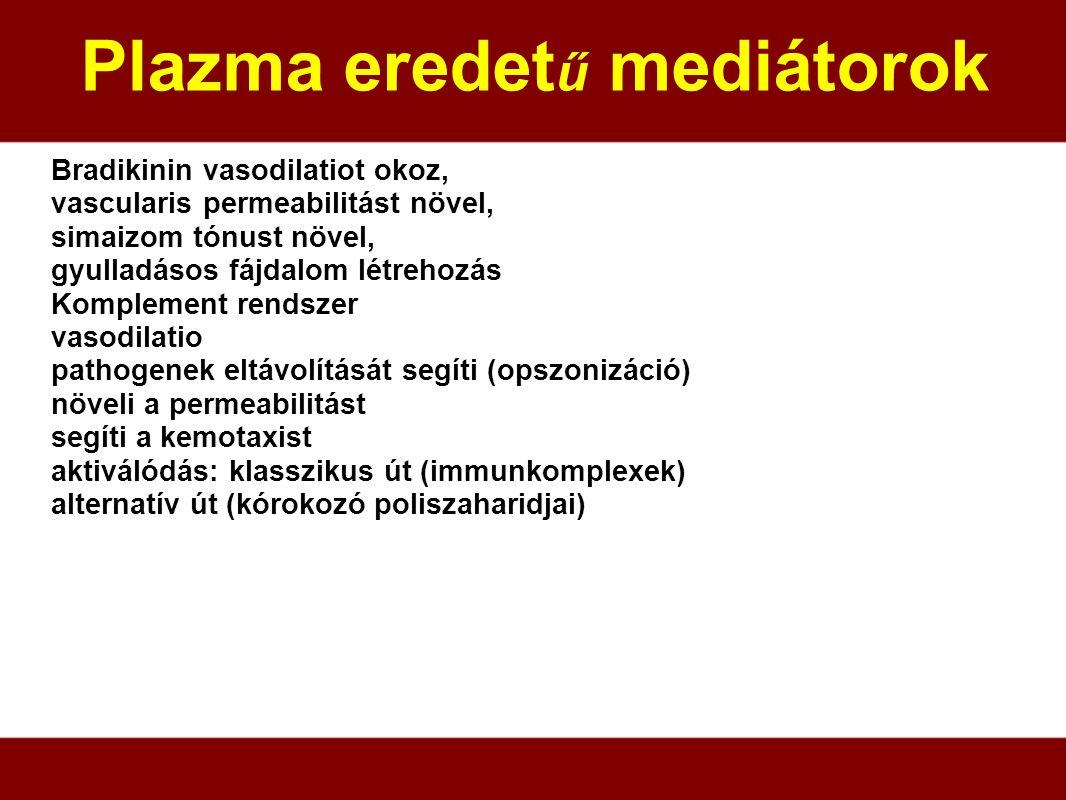 Plazma eredet ű mediátorok Bradikinin vasodilatiot okoz, vascularis permeabilitást növel, simaizom tónust növel, gyulladásos fájdalom létrehozás Kompl
