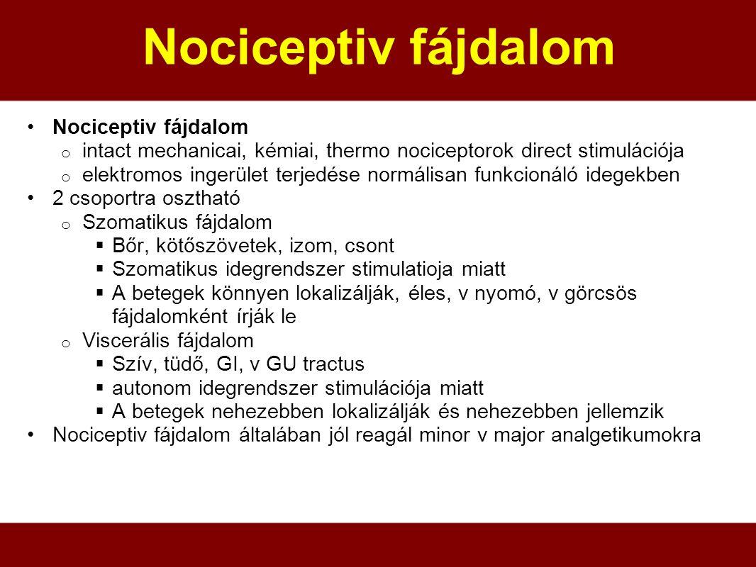 Nociceptiv fájdalom o intact mechanicai, kémiai, thermo nociceptorok direct stimulációja o elektromos ingerület terjedése normálisan funkcionáló idege