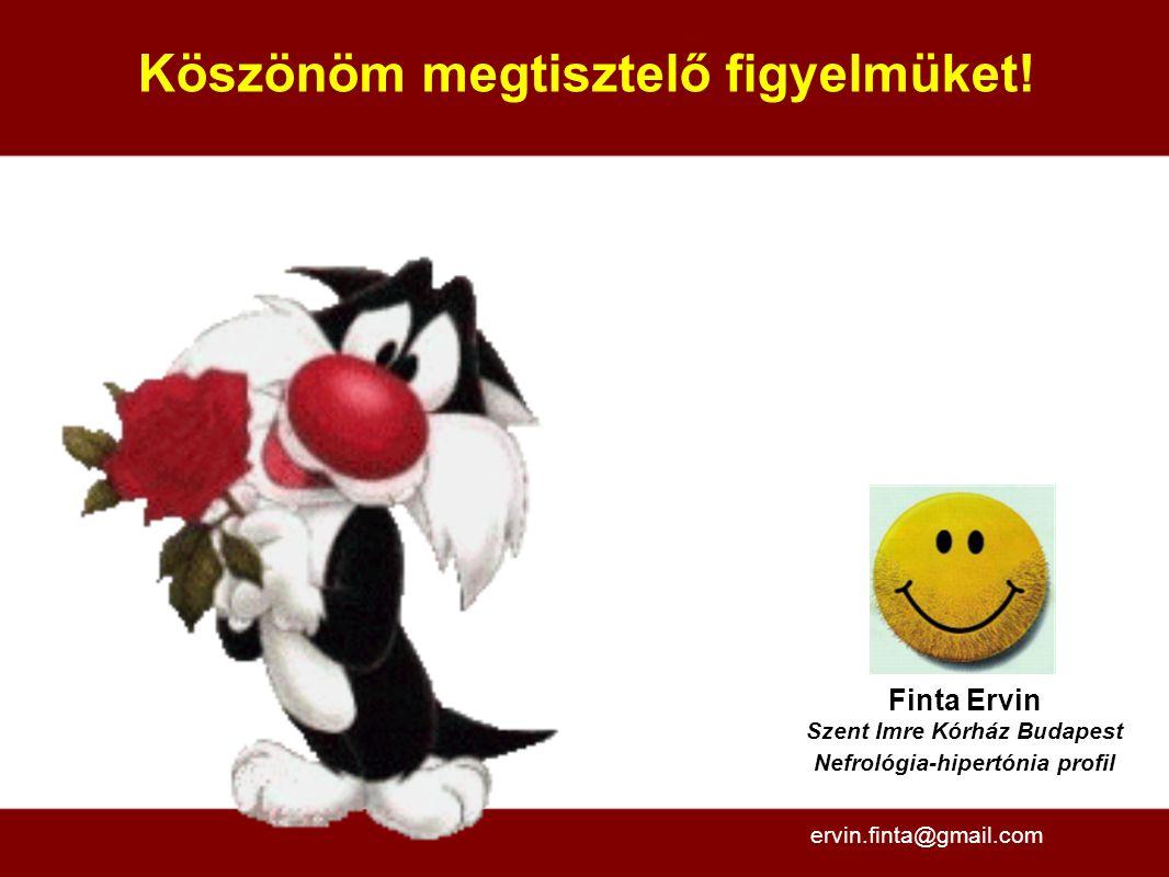 Köszönöm megtisztelő figyelmüket! Finta Ervin Szent Imre Kórház Budapest Nefrológia-hipertónia profil ervin.finta@gmail.com