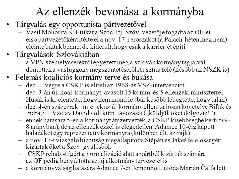 Az ellenzék bevonása a kormányba Tárgyalás egy opportunista pártvezetővel –Vasil Mohorita KB-titkár a Szoc.