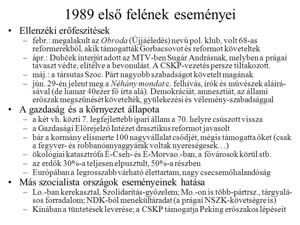 1989 ősze Tüntetések, ellenzéki akciók –aug.21-én, az intervenció 21.