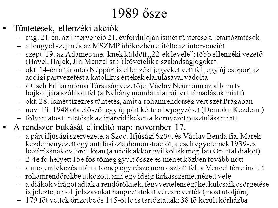 1989 ősze Tüntetések, ellenzéki akciók –aug. 21-én, az intervenció 21.
