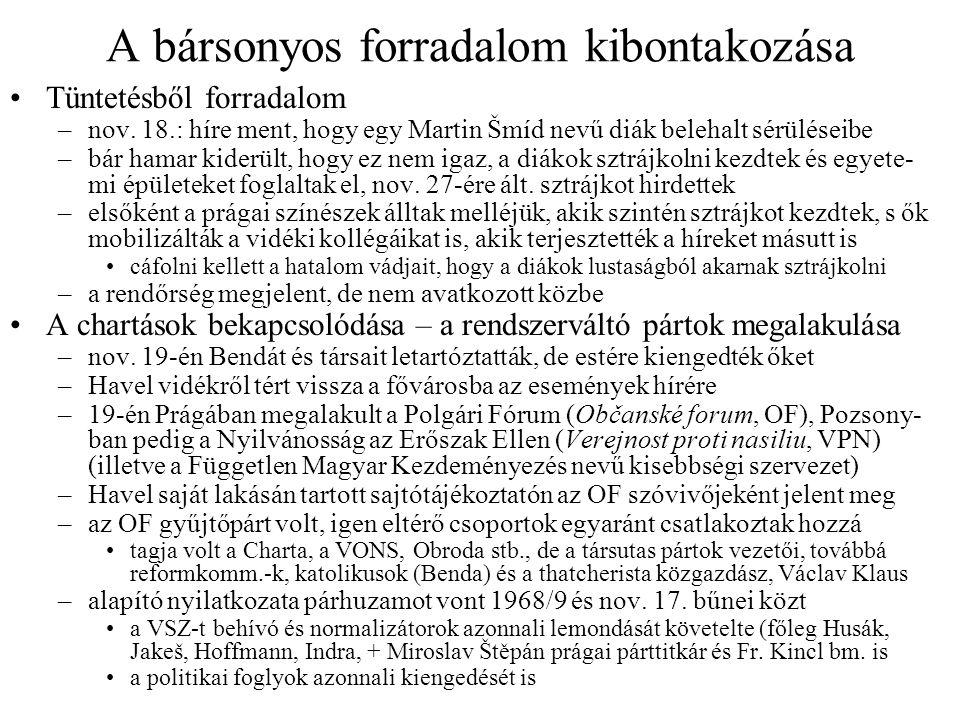 A bársonyos forradalom kibontakozása Tüntetésből forradalom –nov.