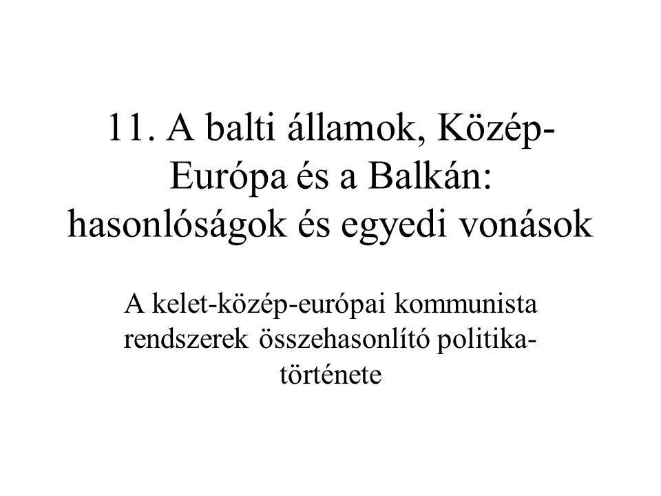 11. A balti államok, Közép- Európa és a Balkán: hasonlóságok és egyedi vonások A kelet-közép-európai kommunista rendszerek összehasonlító politika tö