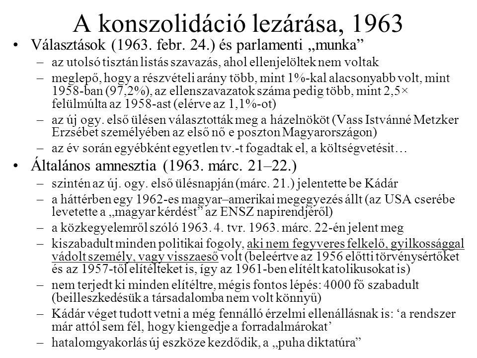 """A konszolidáció lezárása, 1963 Választások (1963. febr. 24.) és parlamenti """"munka"""" –az utolsó tisztán listás szavazás, ahol ellenjelöltek nem voltak –"""