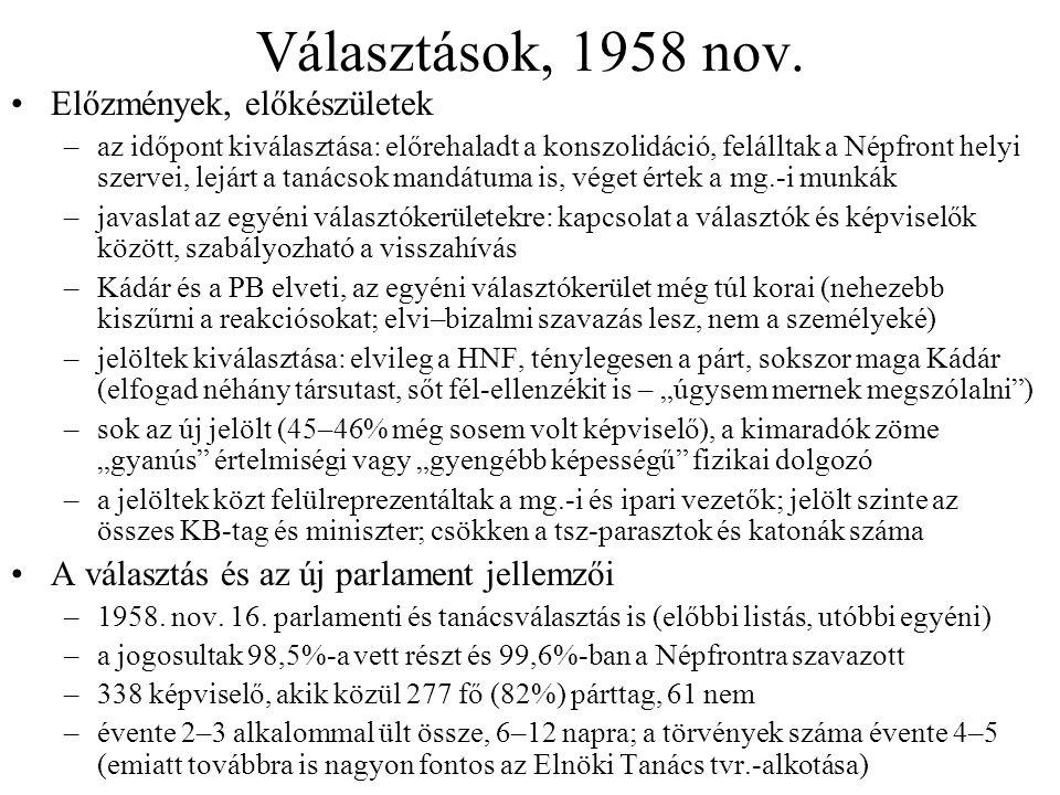 Választások, 1958 nov. Előzmények, előkészületek –az időpont kiválasztása: előrehaladt a konszolidáció, felálltak a Népfront helyi szervei, lejárt a t