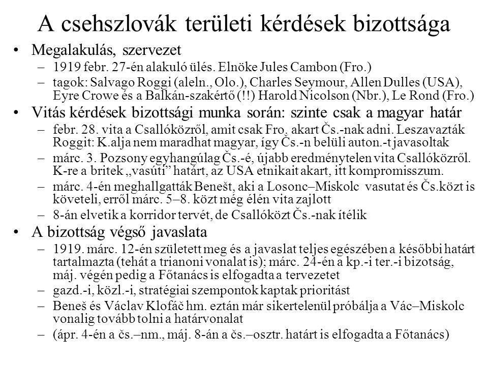 A csehszlovák területi kérdések bizottsága Megalakulás, szervezet –1919 febr. 27-én alakuló ülés. Elnöke Jules Cambon (Fro.) –tagok: Salvago Roggi (al