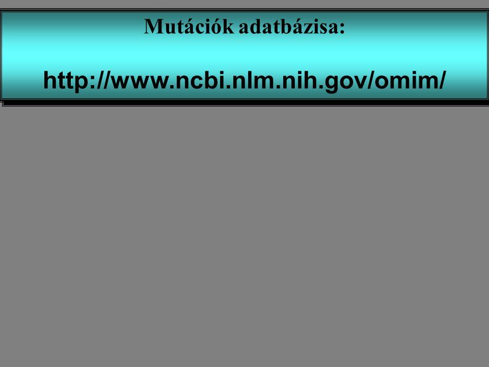 Mutációk adatbázisa: http://www.ncbi.nlm.nih.gov/omim/ Mutációk adatbázisa: http://www.ncbi.nlm.nih.gov/omim/
