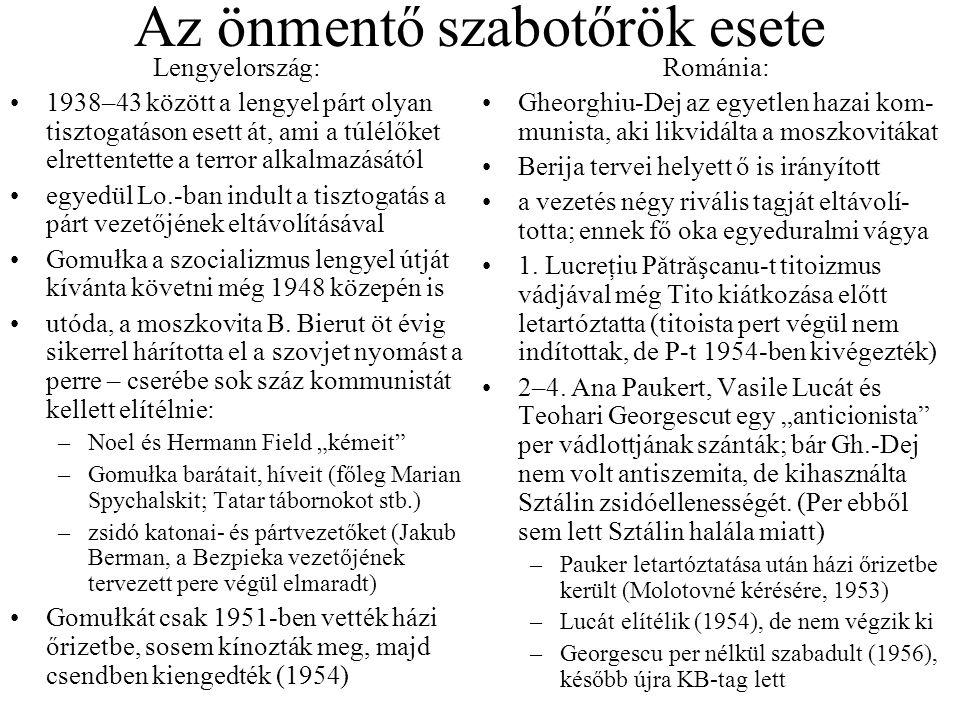 Az önmentő szabotőrök esete Lengyelország: 1938–43 között a lengyel párt olyan tisztogatáson esett át, ami a túlélőket elrettentette a terror alkalmazásától egyedül Lo.-ban indult a tisztogatás a párt vezetőjének eltávolításával Gomułka a szocializmus lengyel útját kívánta követni még 1948 közepén is utóda, a moszkovita B.