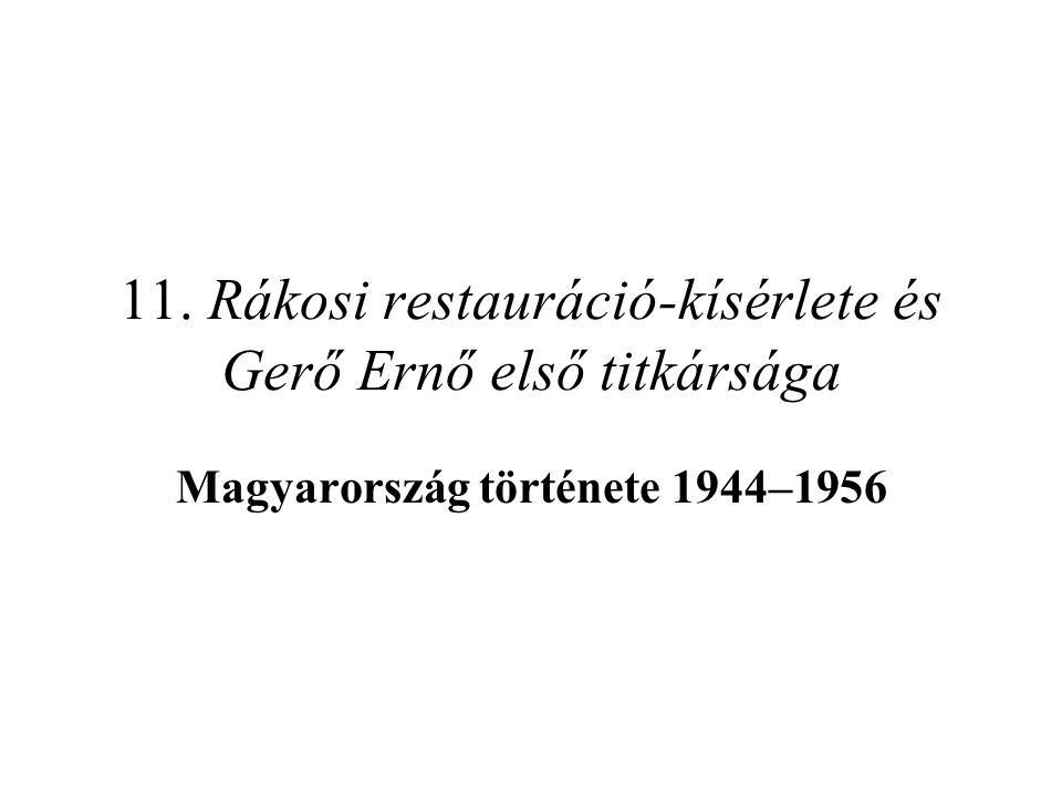 Vissza a szellemet a palackba… A Hegedüs-kormány jellege, politikája –a magyar történelem legfiatalabb miniszterelnöke Rákosi bábja volt –Rákosi és Gerő igyekeztek az 1953 előtti (gazdaság)politikát végrehajtani –újra erőszakos kollektivizálás, a nehézipar erőltetett fejlesztése, az életszín- vonal leszorítása, a beszolgáltatás emelése, a rehabilitáció késleltetése, a börtönök újbóli megtelése jellemző; aktivizálódik az ÁVH –a VSZ megalakulása és az NSZK NATO-tagsága ellenére a hidegháború nem éleződött ki ismét, sőt az osztrák államszerződés és a szovjet–jugoszláv kibékülés miatt még enyhült is –bizonyos reformok viszont tovább folytak: titokban rehabilitálták Rajkot, újabb elítéltek (köztük Grősz József érsek) szabadultak ki A változások jellege és tanulságok –a régi-új vezetés magabiztossága elveszett, a társadalom megfélemlítése ezúttal sikertelen volt –a megtorlás már nem perekkel, hanem pártból való kizárással és elbocsá- tásokal járt együtt –ahogy Nagy sem tudott 1948-hoz visszatérni, úgy Rákosi sem 1953 elejéhez!