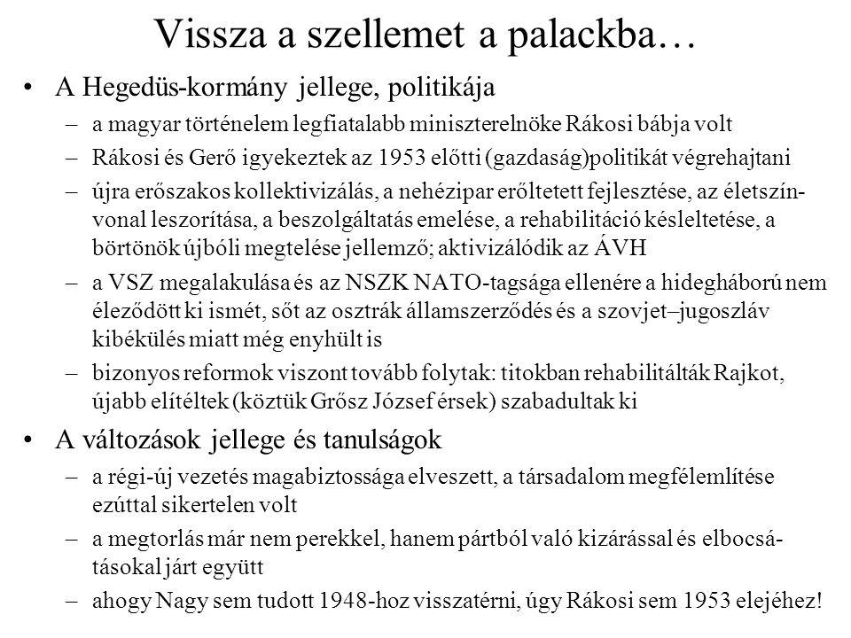 Vissza a szellemet a palackba… A Hegedüs-kormány jellege, politikája –a magyar történelem legfiatalabb miniszterelnöke Rákosi bábja volt –Rákosi és Ge